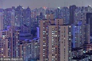 Photo : Shanghai vue de nuit sur les nouvelles habitations - Chine, China